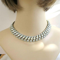 CORO Signed Bright Silver Tone Link Necklace Vintage Mid-Century 1950's