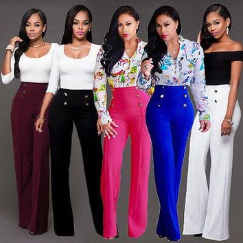 New Hot Fashion Casual Five Species Women High Waist Flared Bell Bottom Pants Casual Party Trousers