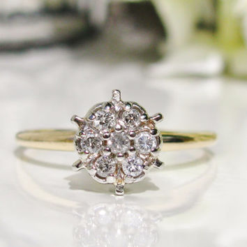 Vintage Engagement Ring Daisy Diamond Cluster Ring Tiffany Style Setting Floral Diamond Ring Petite Diamond Wedding Ring 14K TwoTone Gold!