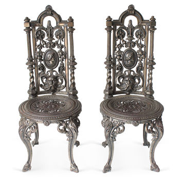 Cast Iron Victorian Chairs, Pair