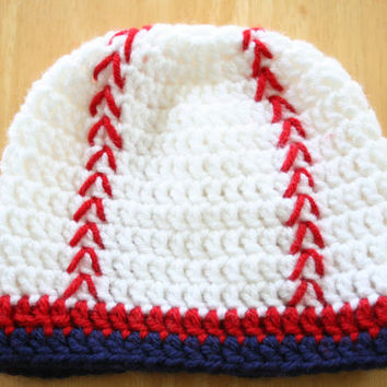 Baseball Hat, crochet photo prop, baby boy photo prop, red white and blue, Newborn to 12 Months