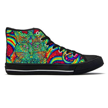 Psychedelic Cat Eye by Alex Aliume - High Top Canvas Shoes