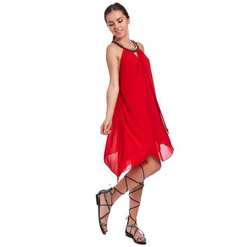 RED SWING DRESS WITH EMBELLISHED COLLAR