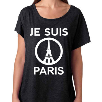 JE SUIS PARIS Eiffel tower womens Tri-Blend Dolman shirt