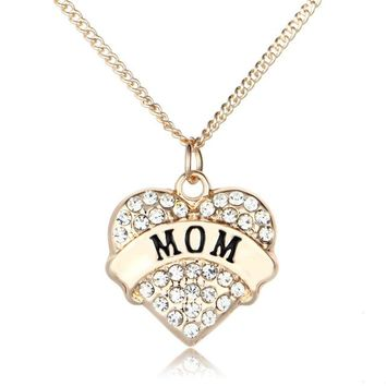 New Womens MOM Rhinestone Heart Pendant Charm Chain Necklace 4 Colors 1Pc
