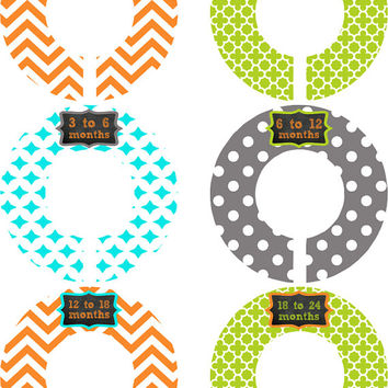 Custom Baby Closet Dividers Girl Boy Chevron Sketch Orange Green Color Nursery Closet Dividers Baby Shower Gift Baby Clothes Organizers Baby