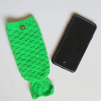 Kelly Green Mermaid Tail iPhone 6 Cozy, ready to ship.