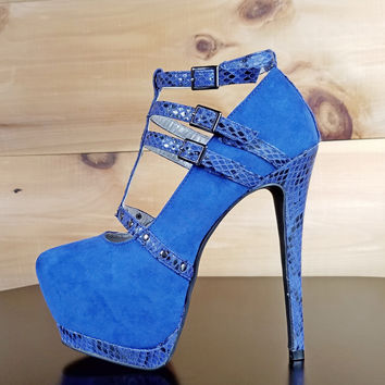 "Luichiny Snake Trim Blue T-Strap Pumps - 6"" High Heel Shoes"