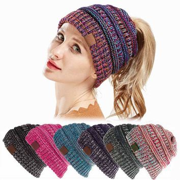 XDOMI Women Thick Soft Warm Winter Hat Oversized Baggy Slouchy Ponytail Beanie Hats Fashion Stretch Cable Knit Skully Beanie Cap