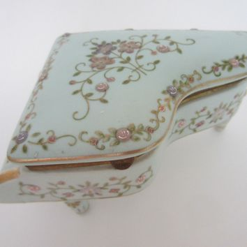 A Porcelain Bronze Piano Floral Blue Hand Painted Gilt Jewelry Box