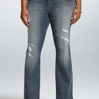 Torrid Relaxed Boot Jean - Light Wash with Repaired Destruction (Short)