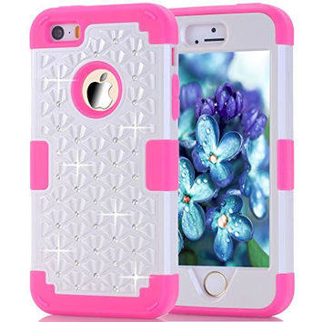 iPhone 5s Case, HOcase Rhinestone-Studded Bling Series, Durable Silicone Bumper and Hard PC Shock & Scratch Resistant Case for Apple 4 inch iPhone 5s - White+Deep Pink