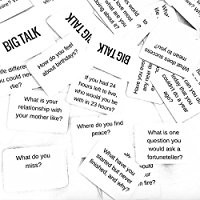 BIG TALK Question Card Game: Skip small talk, Make Meaningful Connections - fun party game, unique team building / networking / icebreaker activity, useful therapy and counseling tool - 88 questions