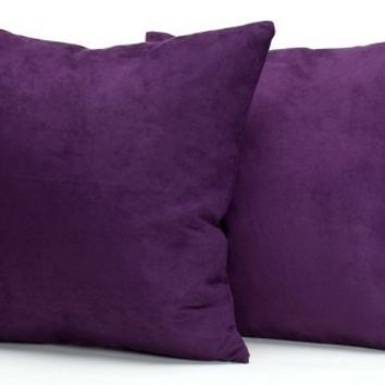 Purple Microsuede Couch Pillows / Sets of Two Throw Pillows, 18-Inch-by-18-Inch- Decorative Solid Color Luxury Filled Down and Feather 2-Pack