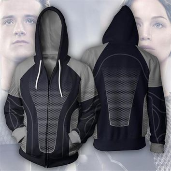 Cosplay The Hunger Games Costume Sweatshirts Katniss Everdeen Peeta Mellark 3D Printing zipper Jacket Hooded sweater coat tops