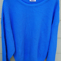 Vintage 80s Electric Blue Shaker Knit Ribbed Oversize Sweater by Rhenish Harbor