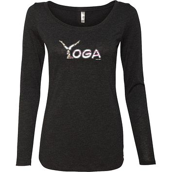 Yoga Clothing For You Yoga Spelling Triblend Long Sleeve Yoga Tee Shirt