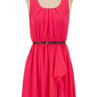 Belted Ruffle Front Chiffon Tank Dress