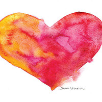 Vibrant Heart Watercolor Painting - 5 x 7 - Giclee Print