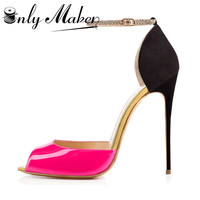 Onlymaker High Heels Ladies Pumps Sexy Thin Heels Shoes For Women Ankle Strap Peep Toe 12cm High Heel Sandals Stiletto Plus Size