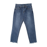 Cropped Raw Hem High-Rise Jeans