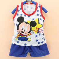 2017 new Baby boy Clothing Sets summer Mickey  Leisure Baby Clothes boys  vest T-shirt+Pants 2Pcs Suits Children Clothing