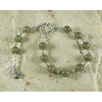 Odin (Woden) Pocket Prayer Beads in Labradorite: Norse God of Battle, Magic, Runes, Wisdom