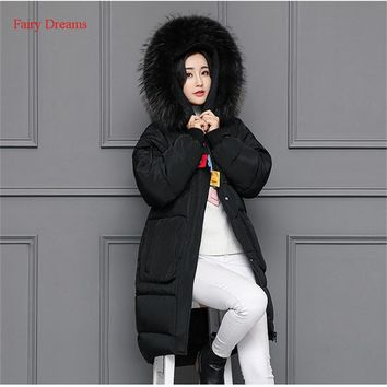Fairy Dreams Women Winter Jacket Thickening Warm Long Coat Big Fur Collar Hooded Made Of Goose Feather Patch Designs Down Parka