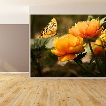 Butterfly Flowers Custom Designed Wallpaper Peel and Stick