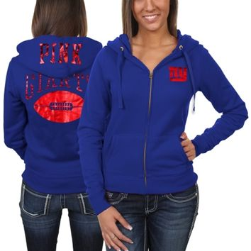 Victoria's Secret PINK New York Giants Ladies Bling Full Zip Hoodie - Royal Blue