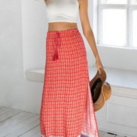 Red Printed Maxi Skirt