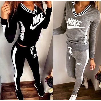 NIKE Top Sweater V-Neck Pants Trousers Set Two-Piece Sportswear