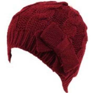 Buy Cable Knit Beanie Skull Ski Winter Ribbon Bow Hat Wine at Best Buy Shop