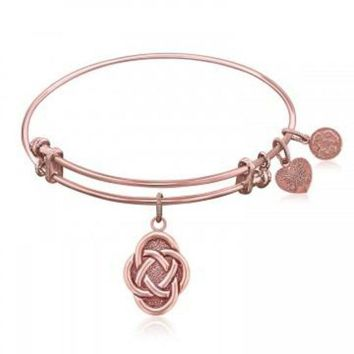 ac NOVQ2A Expandable Bangle in Pink Tone Brass with Celtic Oval Symbol