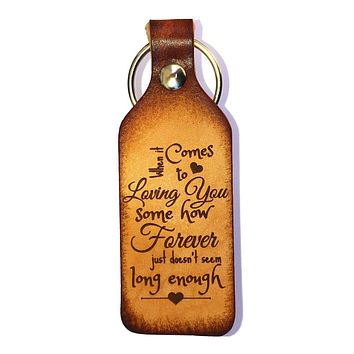 Loving You Leather Keychain