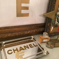CHANEL TRAY, Mirror and Lucite Hollywood Vanity Tray