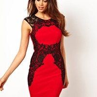 Lipsy Dress with Lace Applique Silhouette at asos.com