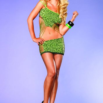 Shredded Leopard Mini Dress (One Size,Neon Green)