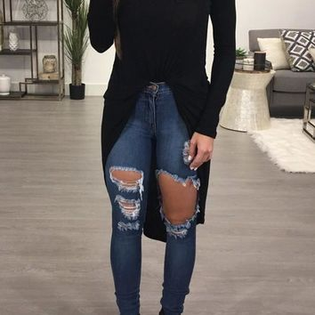 Black Irregular Swallowtail Round Neck Fashion Long Sleeve Blouse