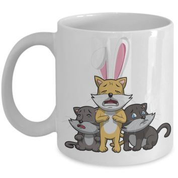 White Ceramic Fun Kid Easter Bunny Ears Grimm Story Mug Cup For Children White Bpa Free Chocolate Cookies Jar Coloring Marker Holder Drink Mugs For Cocoa Milk Juice Best Affordable Holiday Gift For Kids 2017 2018