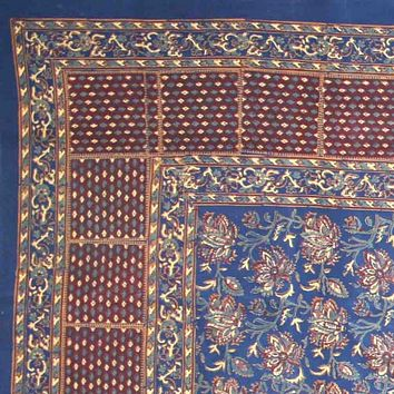 Handmade Cotton Floral Block Print Tapestry Tablecloth Throw Spread Blue Twin