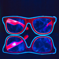Light-Up Glasses: Rave Glow sunglasses w/ clear lenses & blue led el wire lights