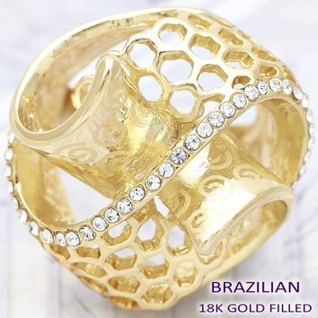 Gold Layered Women Spiral Multi Stone Ring, with White Crystal, by Folks Jewelry
