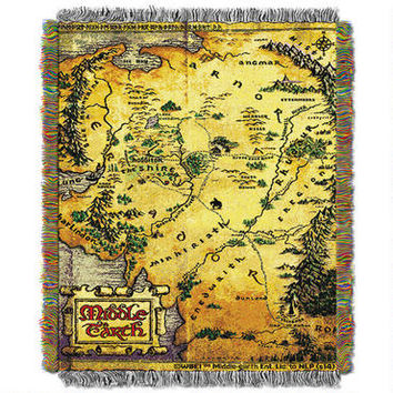 The Hobbit: An Unexpected Journey Map of Middle-earth Woven Tapestry Throw Blanket | WBshop.com | Warner Bros.
