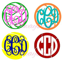 Cute Sports Monogram Decal volleyball, basketball,tennis or baseball