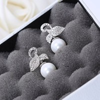 Magic Pieces Women's Rhodium Plated Alloy Earrings with White CZ Micropave Setting-Leaf and Pearls W4783A 0730J