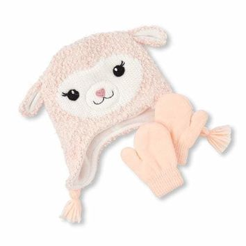 Toddler Girls Llama Hat And Mittens Set