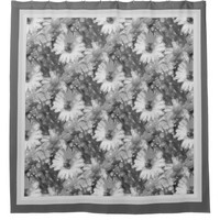 Gray Daisy Shower Curtain
