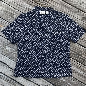 KATHIE LEE VINTAGE 90's Women's Size 14 Navy Floral Print Button Down Blouse Shirt