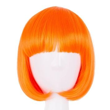 Fei-Show Synthetic Heat Resistant Short Wavy Orange Hair Peruca Peluca Costume Cartoon Role Cos-play Bob Student Salon Hairpiece